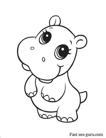 Baby Hippo | Coloring Pages | Pinterest | Coloring pages, Animal ...