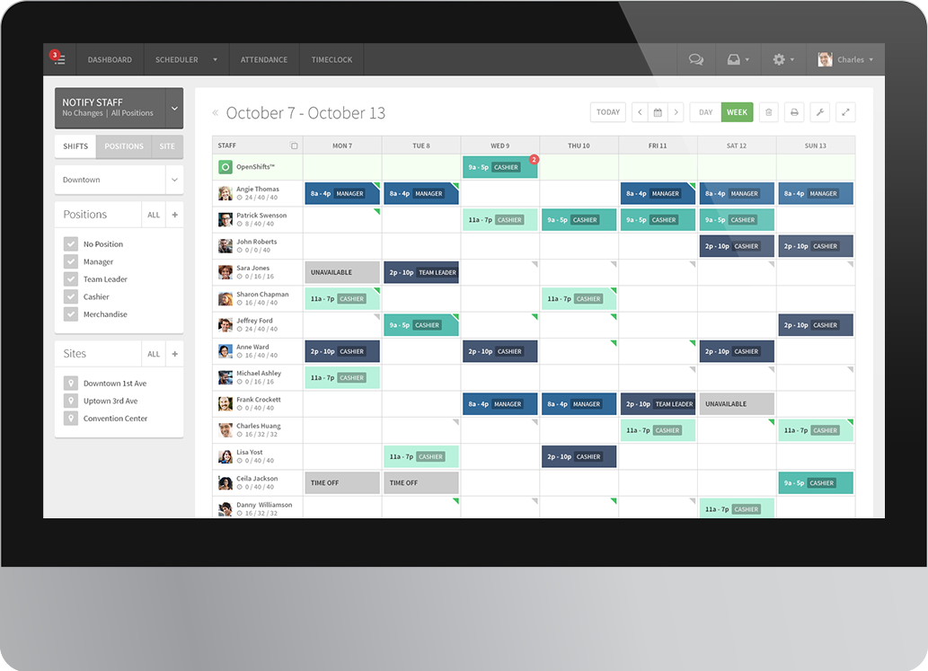 Employee scheduling software screenshot of the shift for Software planner