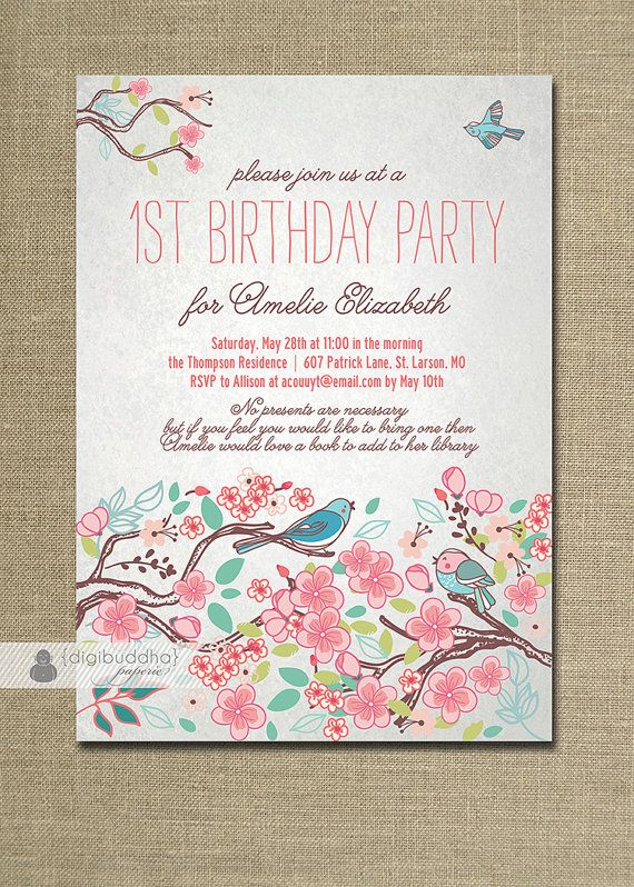 Bloom bird birthday invitation garden party floral baby girl first invitation no gifts just books stopboris Images