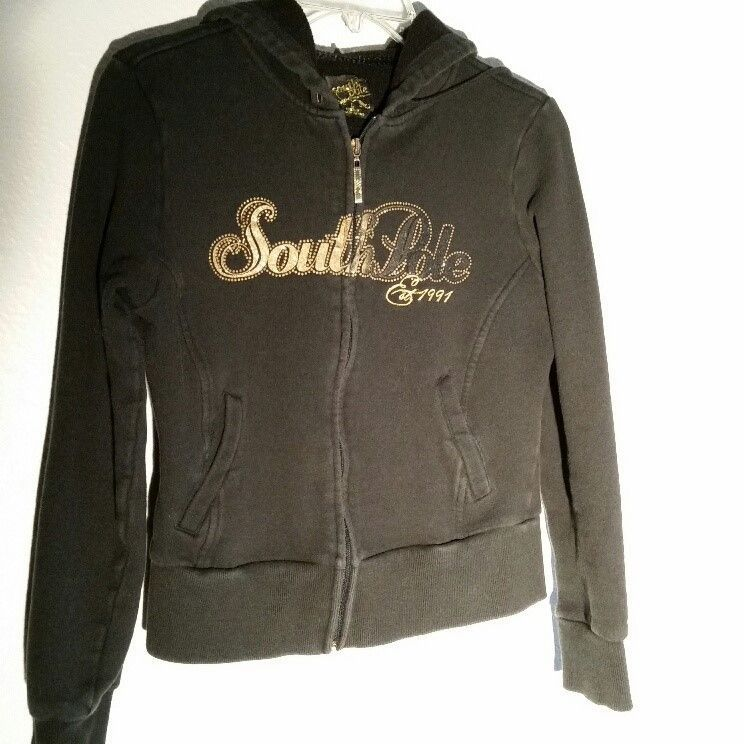 Women Jr South Pole HoodieSize M Black Sweatshirt Knit Full Zip Front Gold  Logo  fashion 006f63796