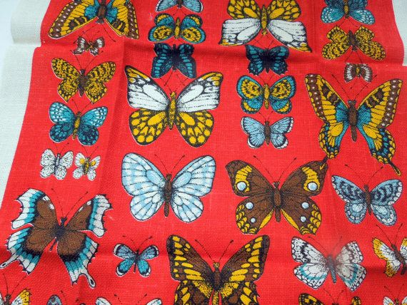 Vintage Pure Linen Kitchen Towel Red Butterflies By Passion4Europe