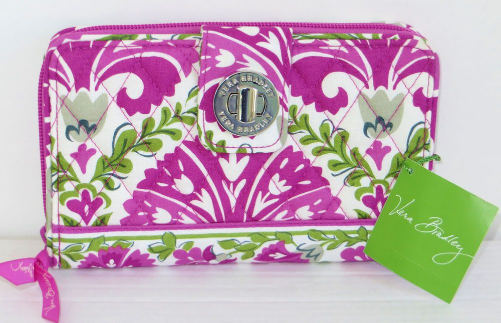 Vera Bradley Turn Lock Wallet Julep Tulip Large Clutch Zip