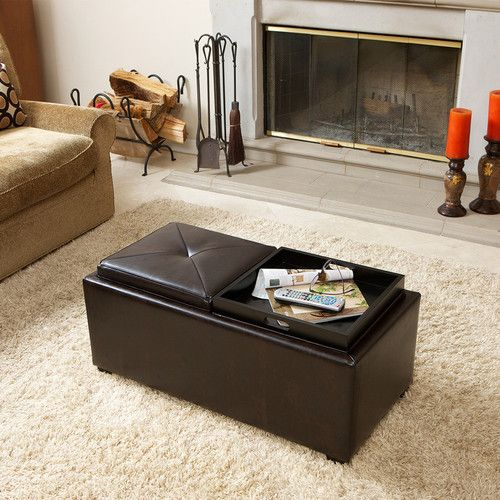 Coffee Table Fabric Storage: 2-Tray-Top Brown Leather Storage Ottoman Coffee Table