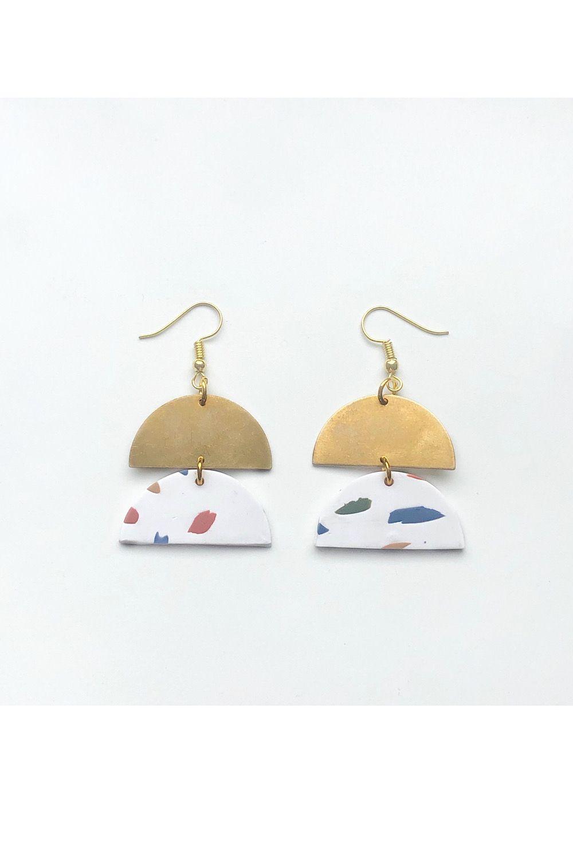 minimalist earrings earrings for a good cause modernist jesmonite handmade terrazzo earrings