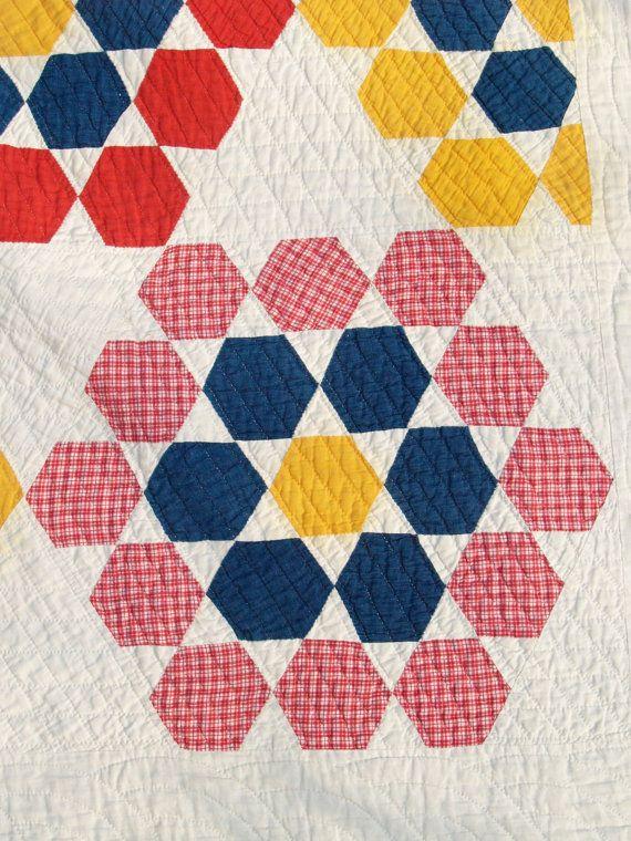 Antique Tennessee quilt, Hexagon, Star, Grandmother's Flower Garden circa 1900