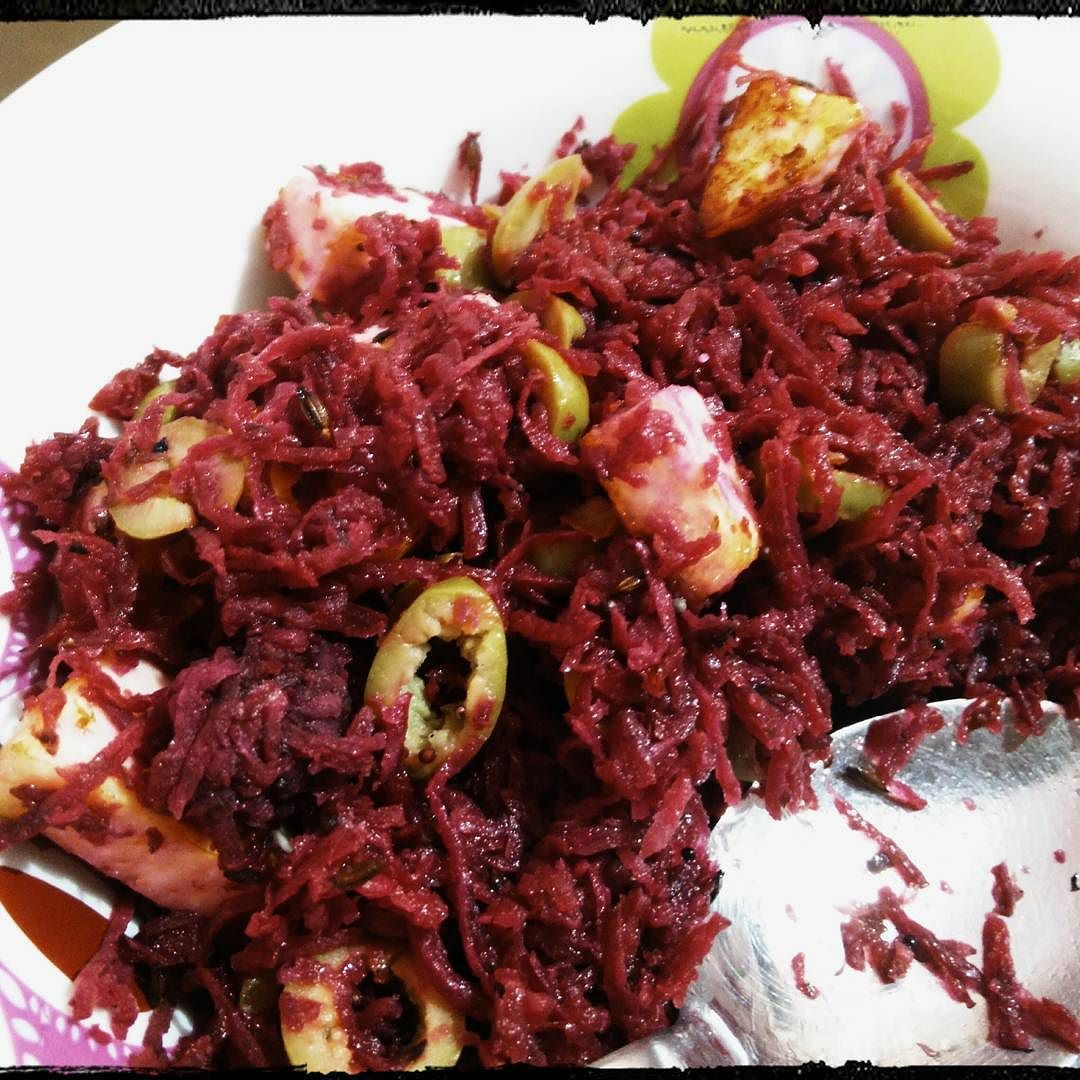 Simple and delicious beetroot guava and olive salad. Unexpectedly nice.
