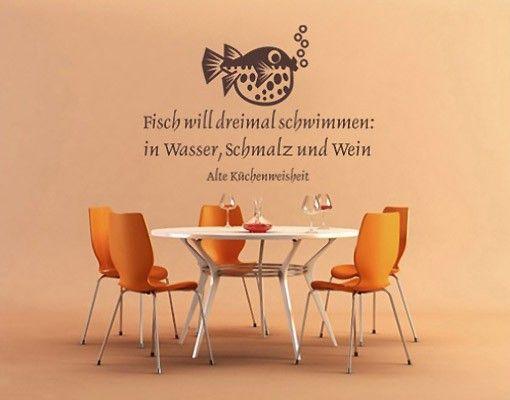 #Wandtattoo Zitate - Wandzitate No.SF107 #Fisch will dreimal.. #Küche #kitchen #essen #food #kochen #Appetit