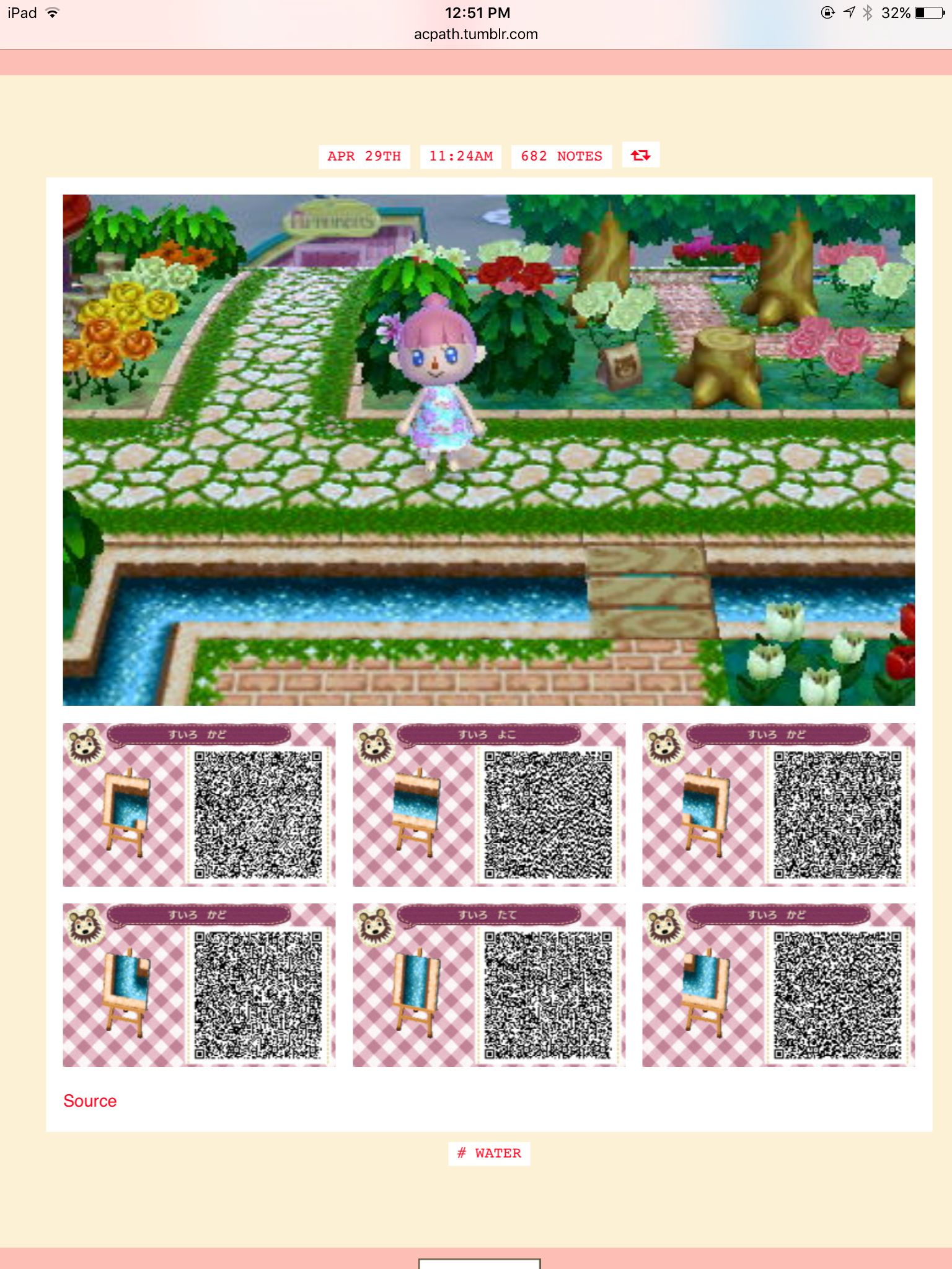 Water essential pieces acnl rivi res eaux pinterest for Carrelage kitsch animal crossing new leaf