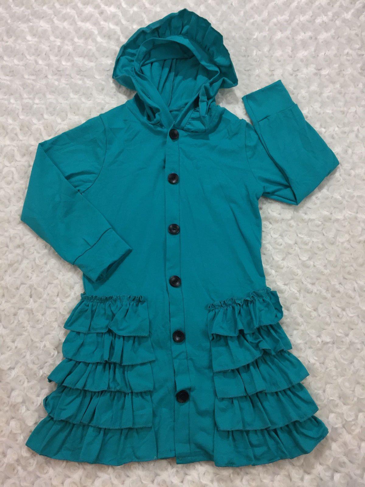 000816206f0a Girls Lightweight Hooded Ruffle Jacket Cotton Blend Size 5-6 Spring ...