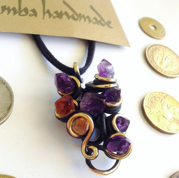 Amethyst & Citrine Crystal Points Necklace Pendant by MbaHandmade