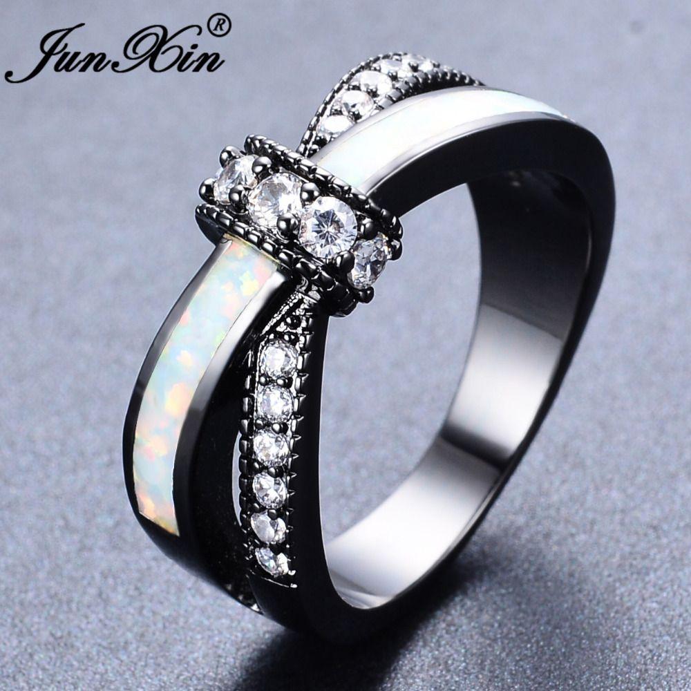 JUNXIN Regenbogen Mystic Feuer Opal Ringe Für Frauen Lady Schwarze Gold Gefüllt Hochzeit Engagement Liebe Ring Anel valentinstag tag
