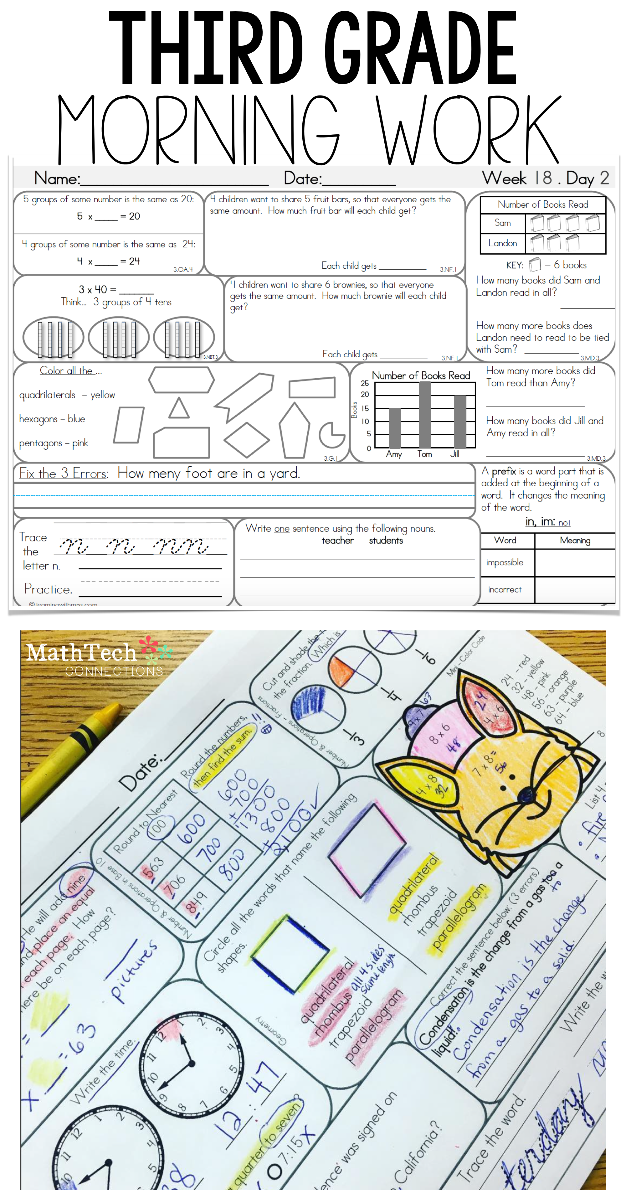 Morning Work 3rd Grade Math Worksheets   Printable Worksheets and Activities  for Teachers [ 3800 x 2000 Pixel ]