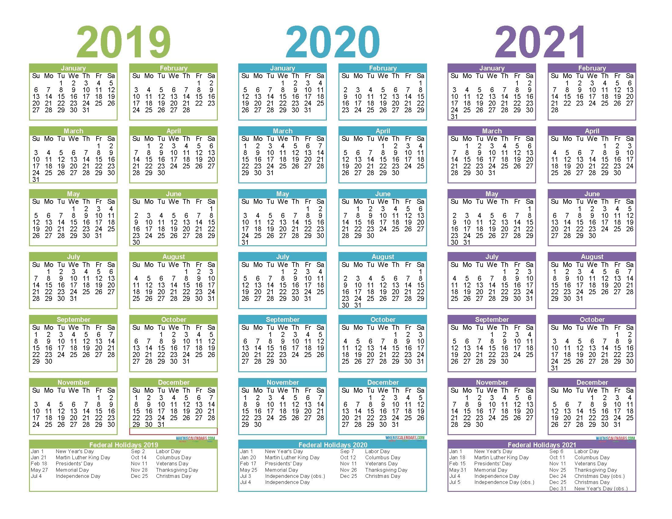 3 Year Calendar Printable 2019 2020 2021 in 2020 ...