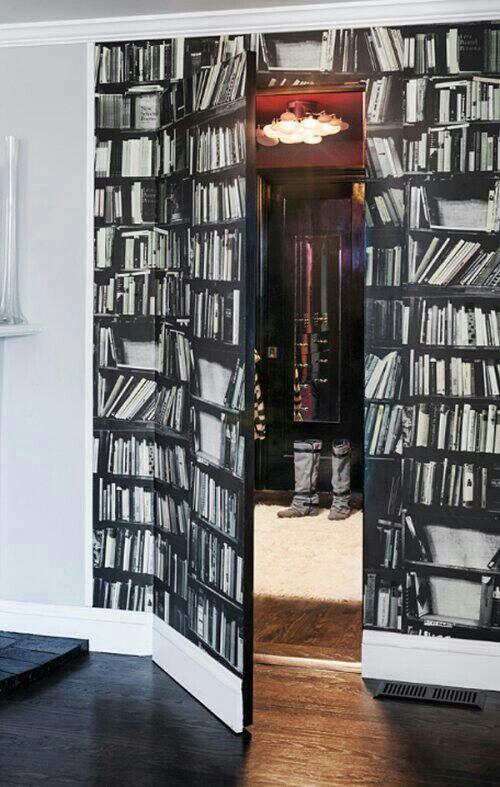Fake bookcase illusion door Secret rooms, Hidden rooms, Home