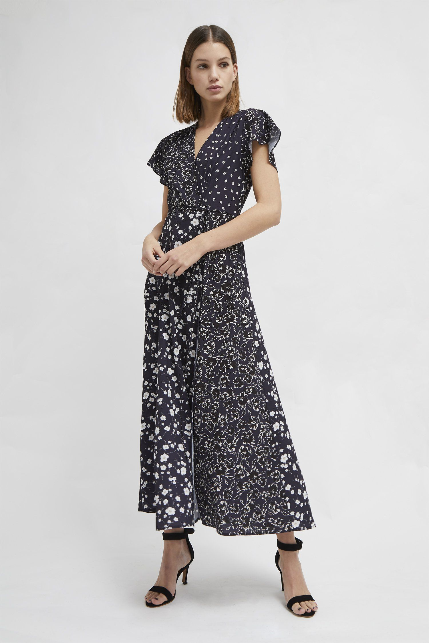 fbc693806bacc Mixed floral wrap front maxi dress Fabric: light, soft, smooth, slight  stretch
