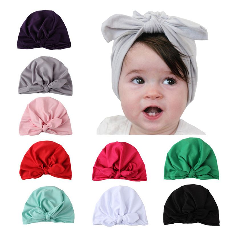 Newborn Baby Girls Kids Turban Soft Silk Bow Hat Cap Wrap Headwear Headband US