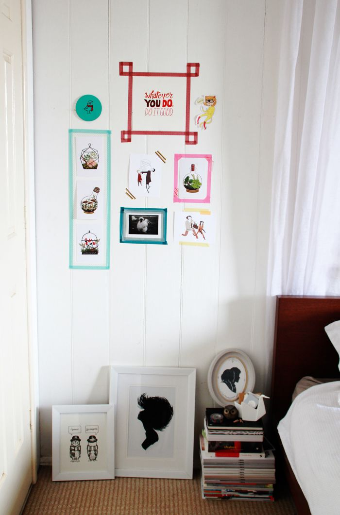 Washi tape frame idea for Hello Kitty coloring pages.