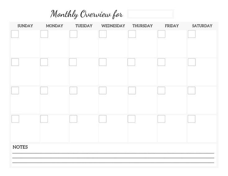 Monthly calendar printable worksheet, life organization