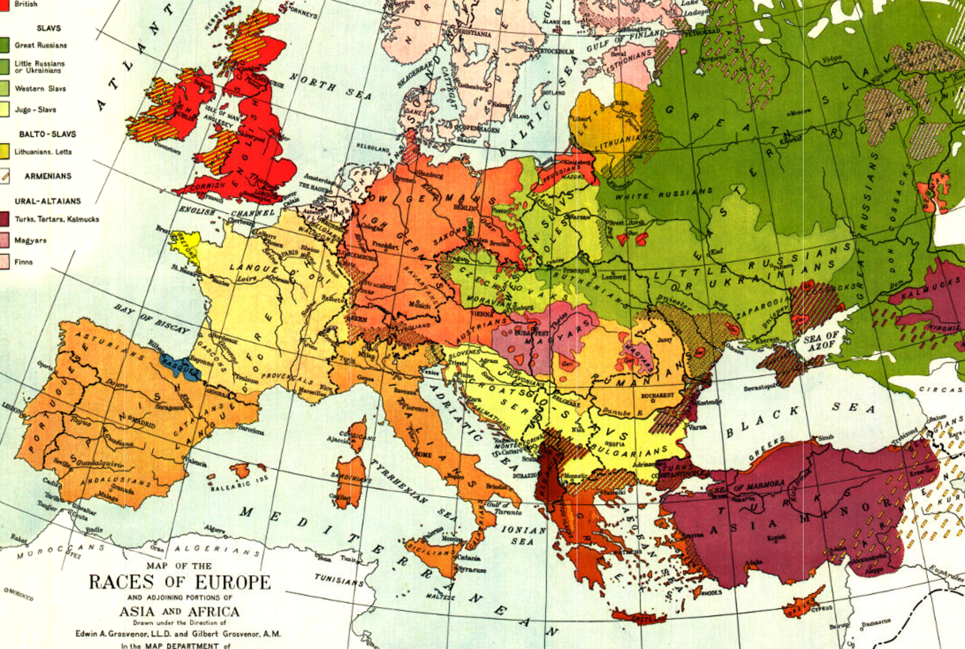 1918 Races of Europe National Geographic Historic Map ...
