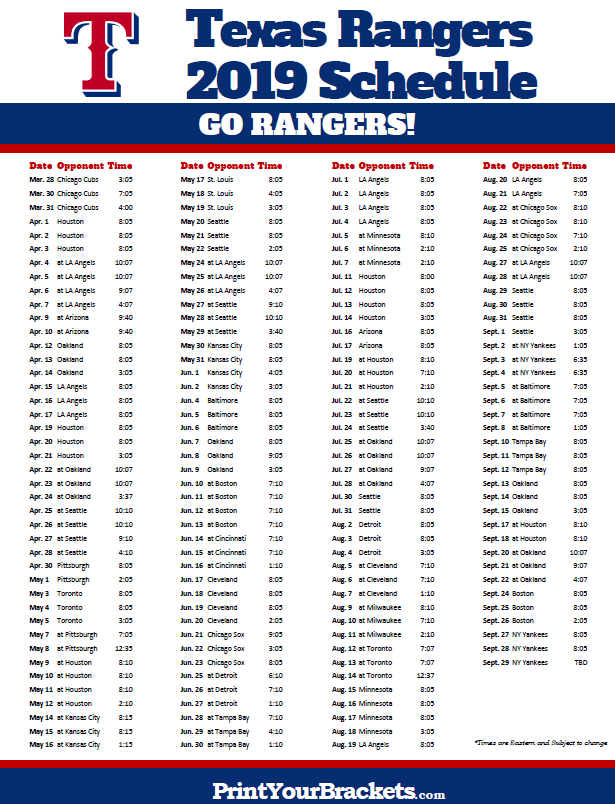 Printable 2019 Texas Rangers Schedule Printable Mlb Schedules