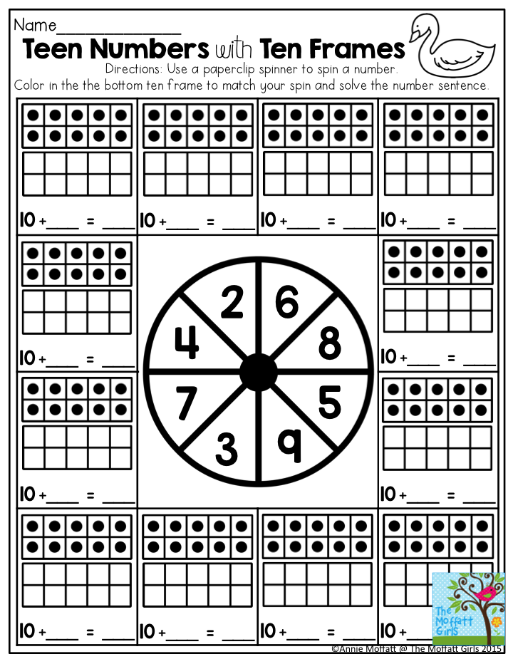Teen Number with Ten Frames- Playing games makes learning math so ...