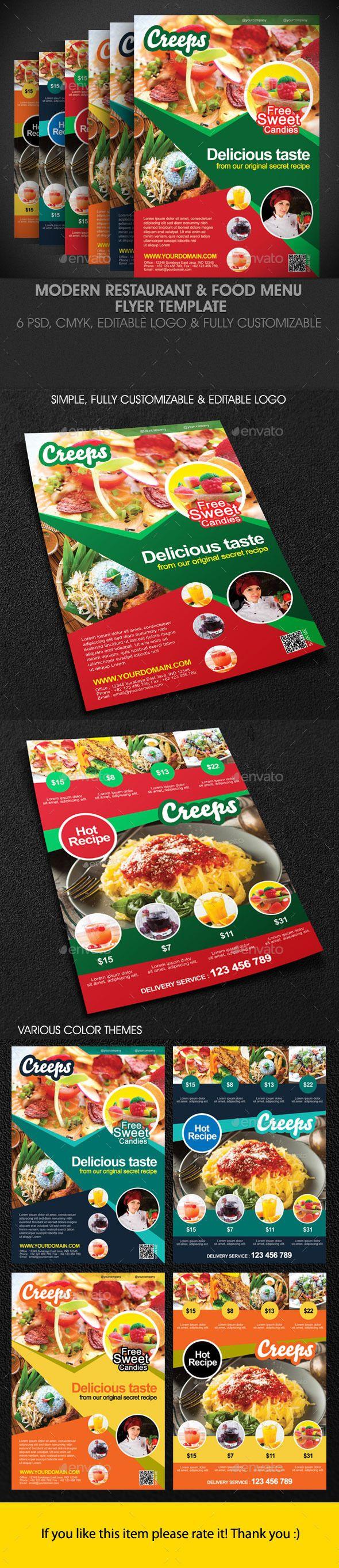 Modern Restaurant Food Menu Flyer Template  Modern Restaurant