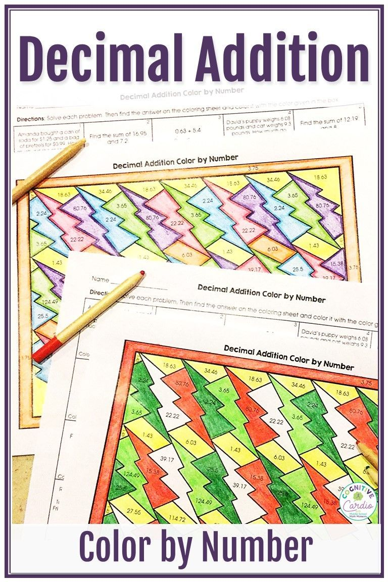 Adding Decimals Color By Number Adding Decimals Decimals Decimals Addition Solve addition equations with decimals