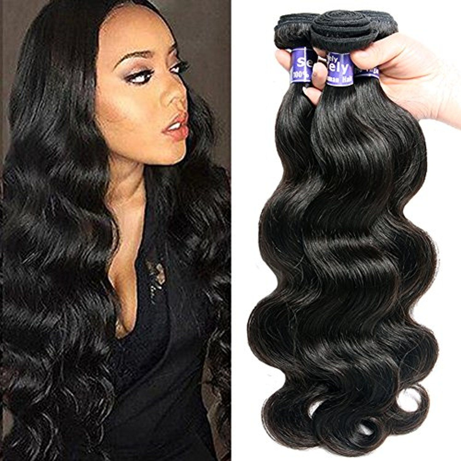 Semmely Brazilian Hair 3 Bundles Body Wave Grade 7a Unprocessed Virgin Human Hair Bundles Natural Black Color Tot Hair Bundles Human Hair Human Hair Extensions