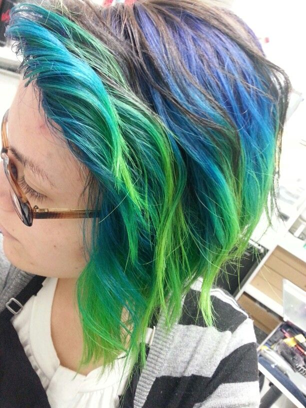 ombre haircolor purple blue teal