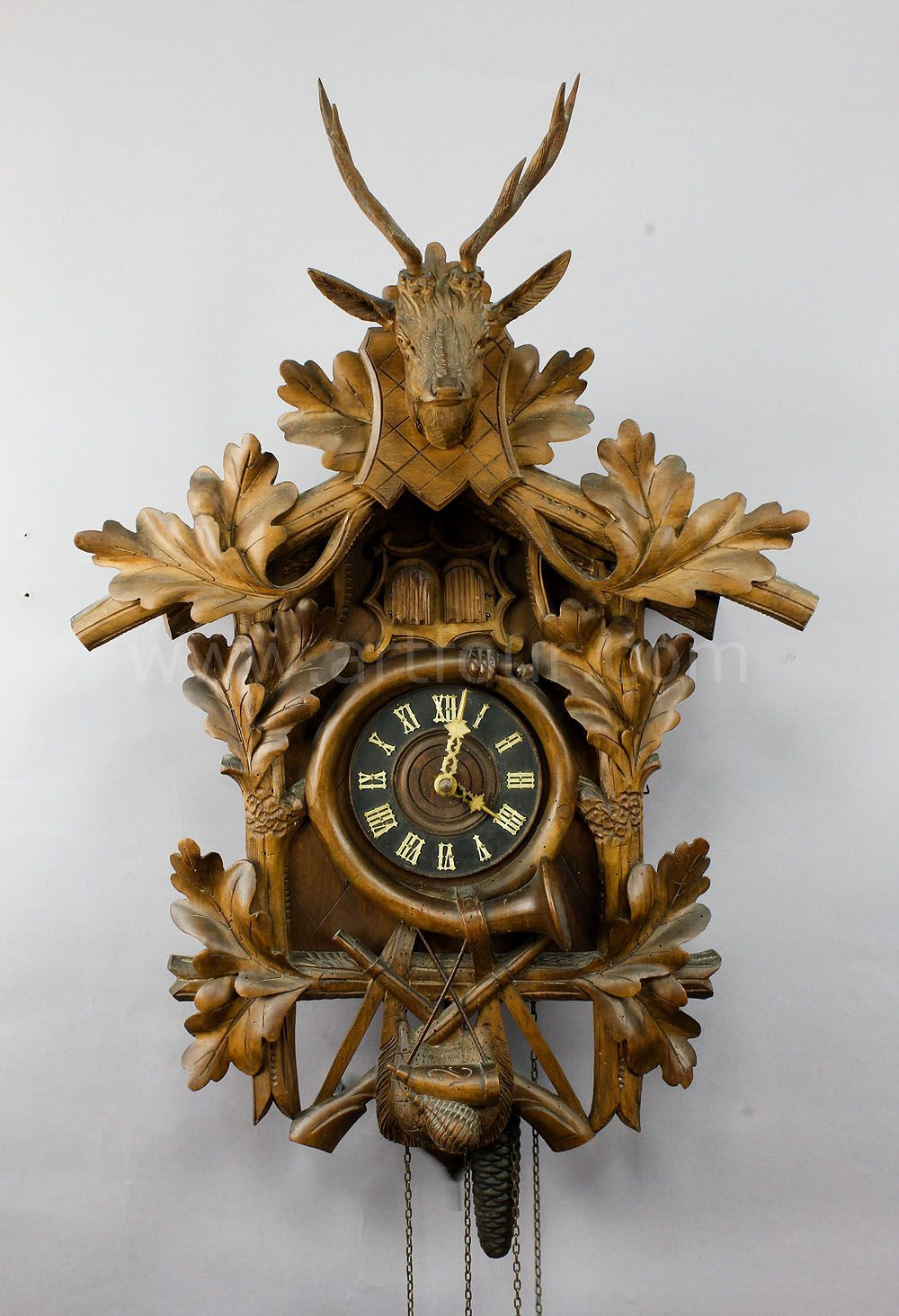 david walter double pendulum clock perpetual calendar time antique black forest carved wood cuckoo clock stag