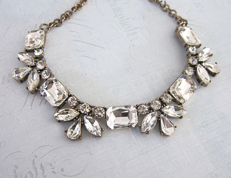 This Art Deco Necklace Will Make You Happy |  #1920s #artdeco #artdeconecklace #bridaljewelry #bridaljewelryset #crystal #etsy #etsyjewelry #etsywedding #gatsby #handmadejewelry #lottiedadesigns #statement #statementnecklace | art deco necklace