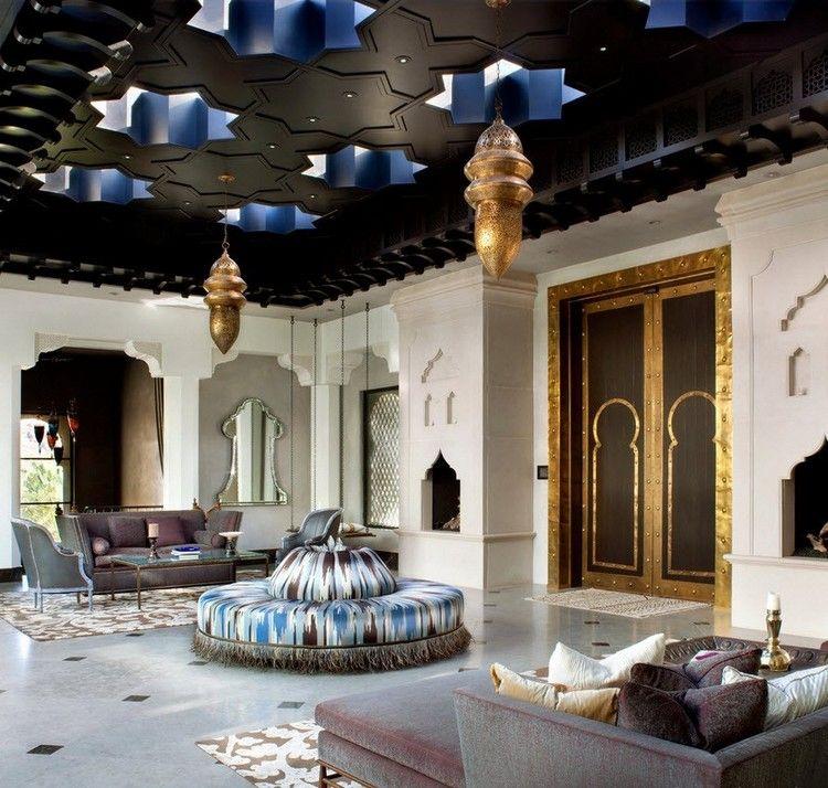décor oriental dans un salon design, carrelage sol gris ...