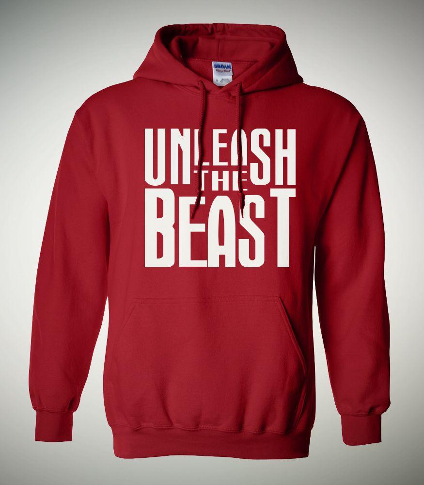 Unleash The Beast (Red) - 50/50 cotton/polyester men's hooded sweatshirt. #men #hoodie #graphic #design #sweatshirt #clothing # inspiration #fashion #style #apparel