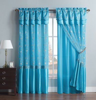 Details About Blue One Piece Window Curtain Drapery Sheer Panel