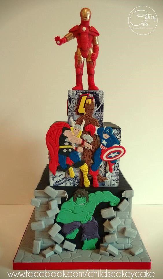 Marvelous Superhero 4th Birthday Cake made by CakeyCake