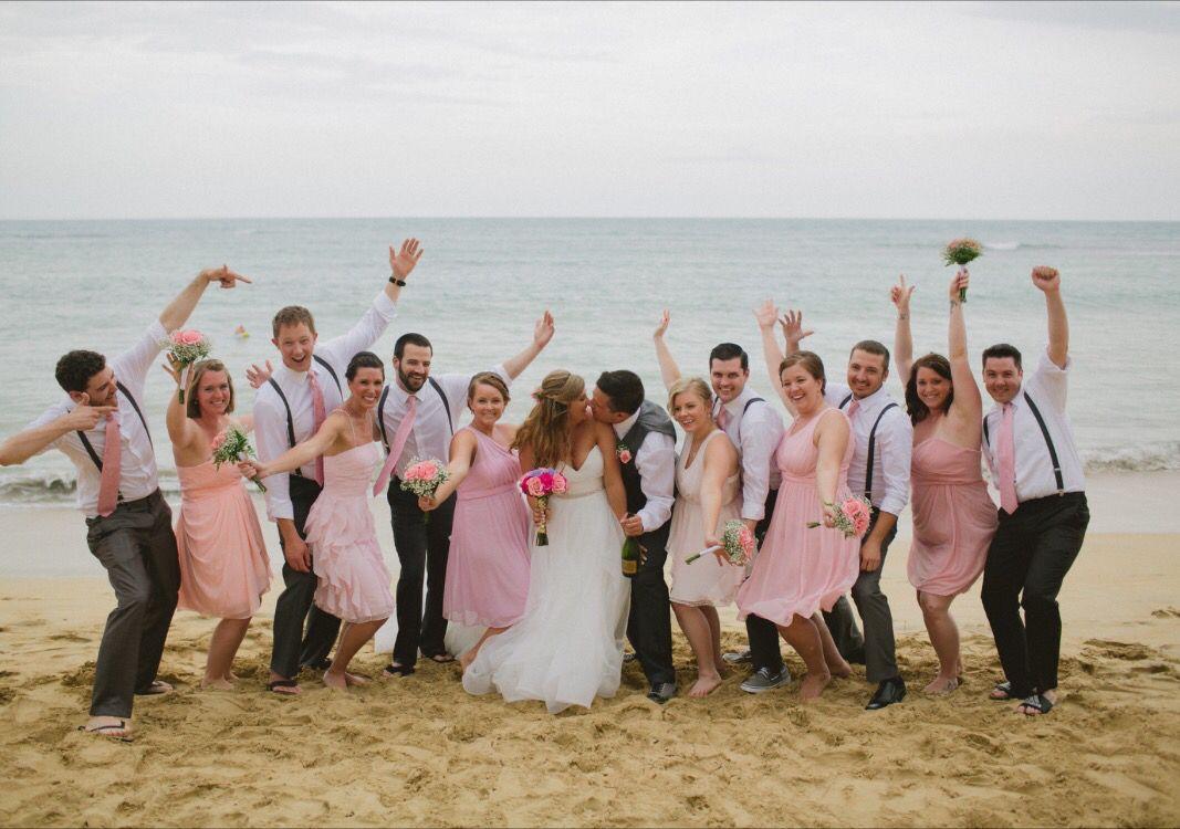 Beach Wedding Guys wore grey pants, white shirts, black suspenders ...