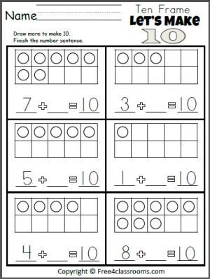 free let 39 s make 10 addition worksheet teacher ideas pinterest addition worksheets. Black Bedroom Furniture Sets. Home Design Ideas