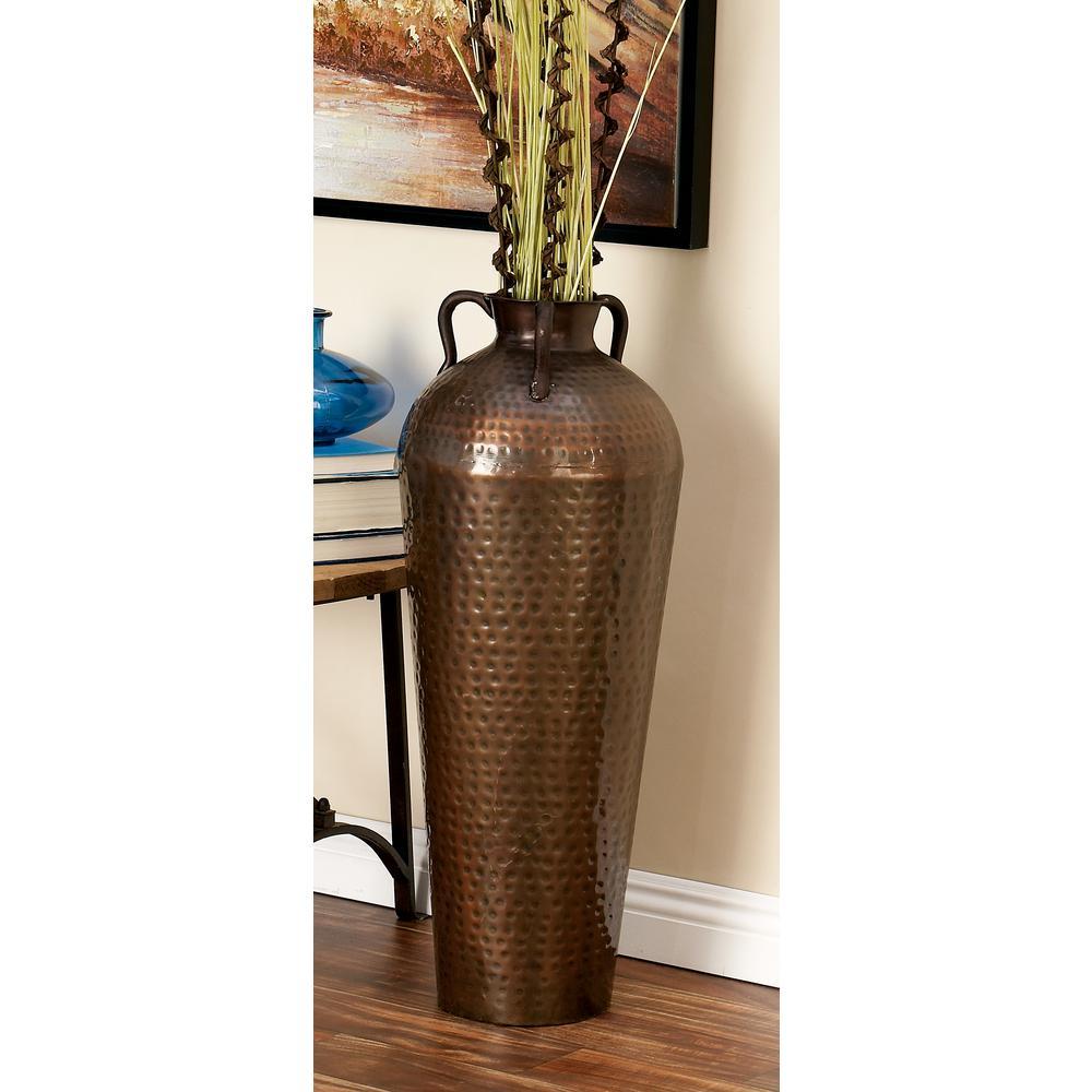 Litton Lane 32 In Old World Grecian Brown Metal Decorative Vase