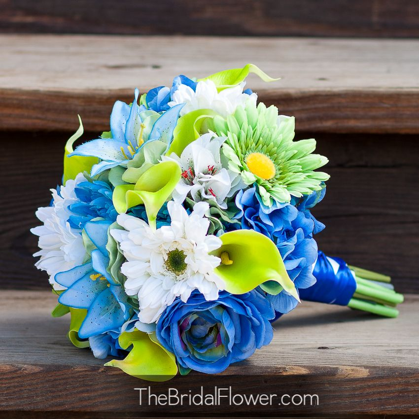 Beach Wedding Ceremony Processional: Royal Blue, Silver And White Wedding Bouquet With Baby's