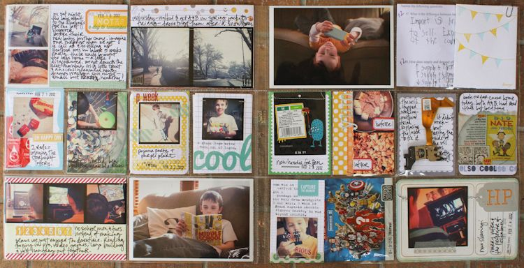 Love how the 4x3 row is used almost like mini-layouts...room for pictures AND words.    Lisa Truesdell - gluestickgirl