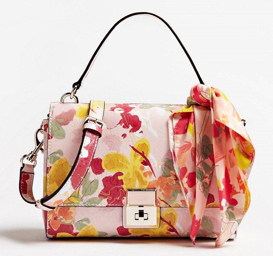 sac guess fleuri rose