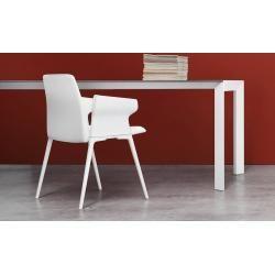 Photo of Kristalia Nori Alucompact® Tisch 90 x 166cm Tischplatte und Beine weiß lackiertes Aluminium (farbäh