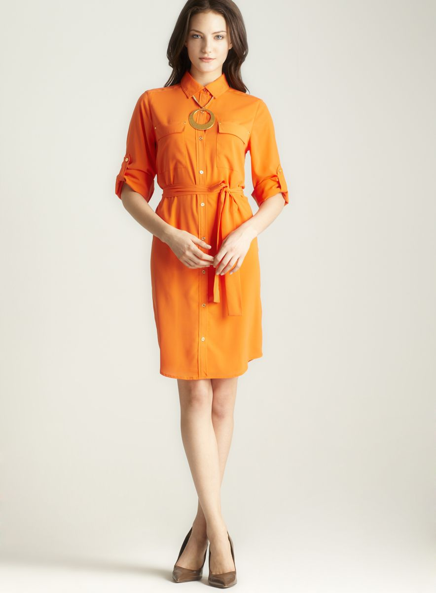 Shirt Dress, Orange