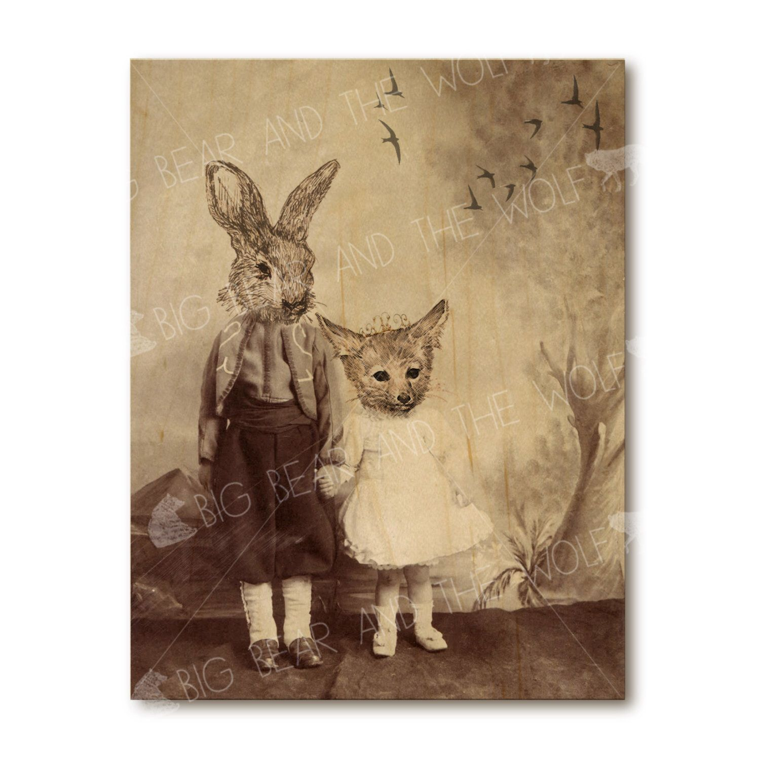 Art on wood, anthropomorphic wall decor, whimsical fox and rabbit ...