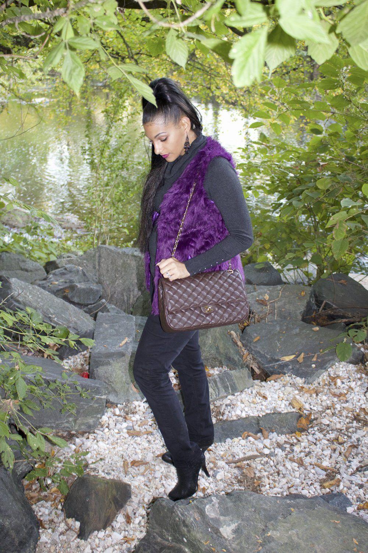 Classy & Sassy is just my style!  #phoenixstyle  http://www.phoenixraine411.com/6xtlw6x3jv0q01947f9fwk8puel3lo/2016/10/26/faux-fur-vest-chanel-handbag