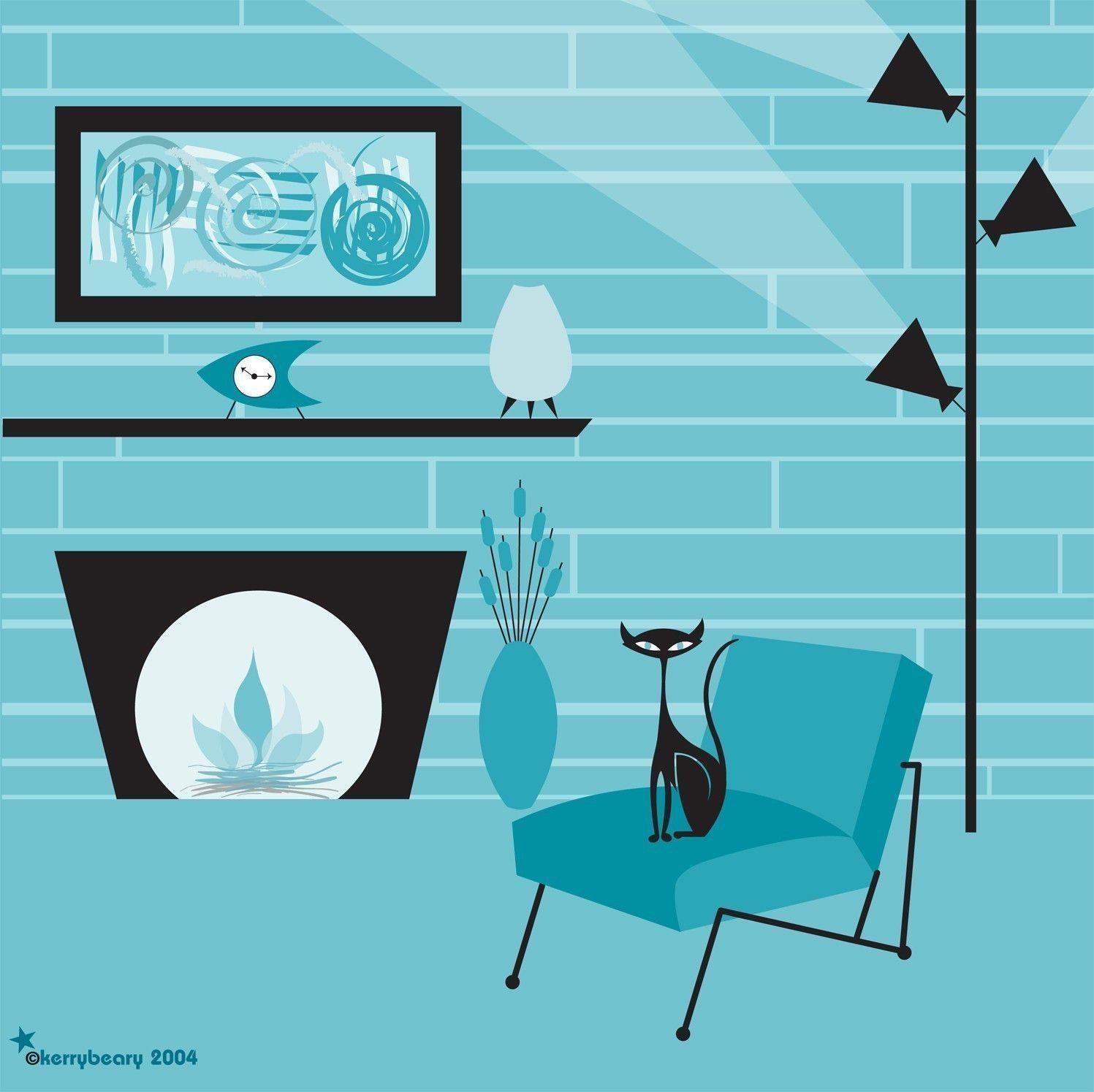 Aqua Lounge Mod Black Cat Limited Edition Print by par