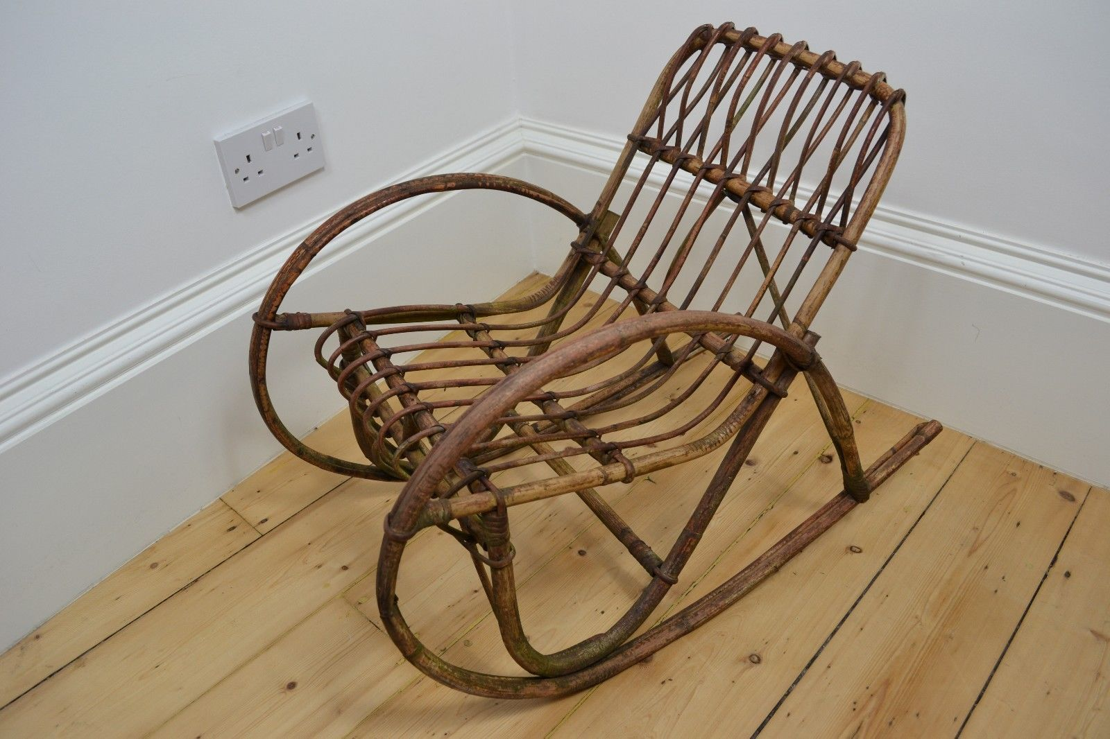 Vintage #1930u0027s #bamboo #wicker Wood Childu0027s Rocking Chair Uk Made Art Deco,