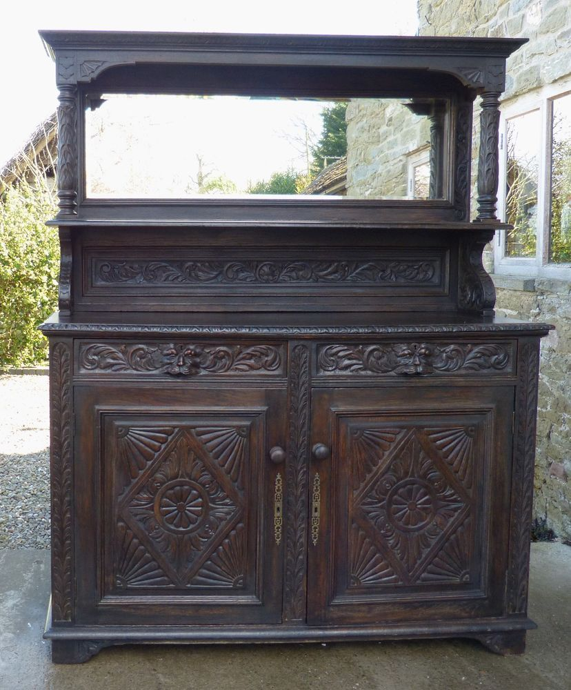 Antique glass flower carvings sideboard crown french furniture - Antique French Gothic Oak Sideboard Dresser 5ft Green Man Hand Carved Mirror