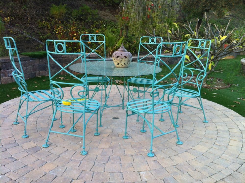 Patio Set Round Rod Iron Glass Table W 6 Chairs Patio Set Wrought Iron Patio Furniture Iron Patio Furniture