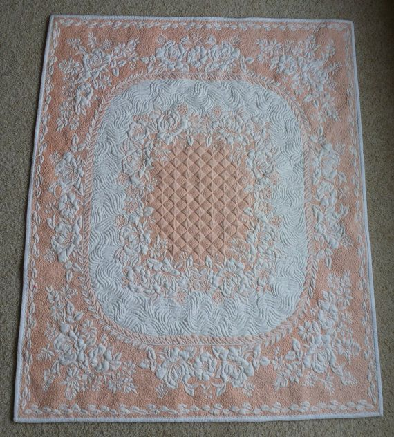 Award Winning Peach and White quilted vintage tablecloth